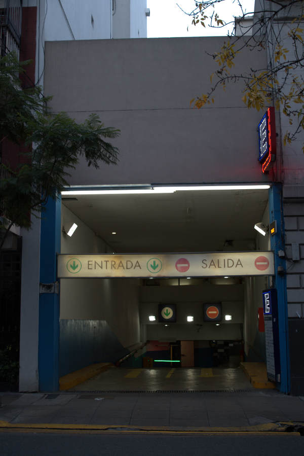 A second view of the Recoleta mall car parking entrance .Uriburu street Recoleta.
