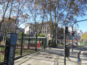 Plaza Teniente General Emilio Mitre with car parking garage