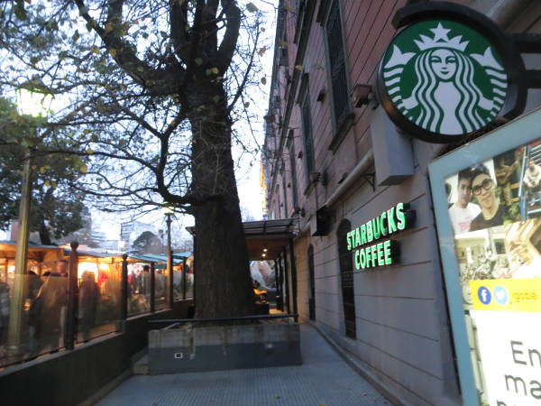 Starbucks coffee shop by the Buenos Aires Design and Recoleta Cultural Center (Centro Cultural Recoleta)