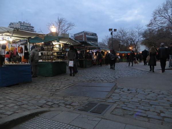Plaza Francia flea market by night, Recoleta