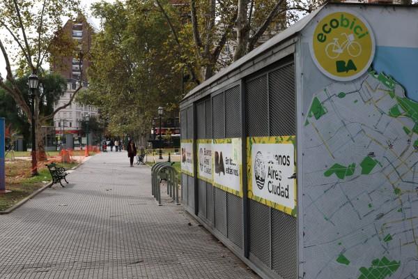 "Plaza Teniente General Emilio Mitre and ""ecobici"" bicycle depot."